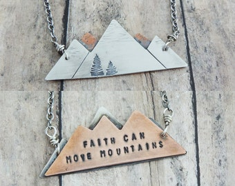 Inspirational Mountain Necklace - Faith Can Move Mountains - Reversible Nature Inspired Pendant - Rustic Christian Jewelry - Bible Scripture