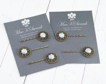 Ice Blue Hair Pins  Set - Bridesmaid Hair Pins - Sparkle Hair Pins - Gift for Her - Unique Hair Pin - Bridesmaid Gift