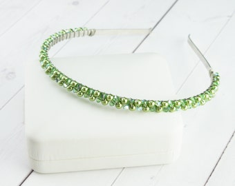 Apple Green Headband - Pearl Headpiece - Beaded Headband - Crystal Hair Accessory - Gift for Her - Christmas Gift - More Colors Available
