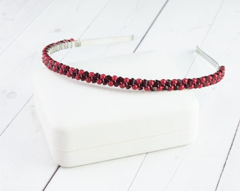 Red Beaded Headband - Christmas Headband - Crystal Pearl Hairpiece - Gift Under 35 - Gift for Her - Christmas Gift - More Colors Available