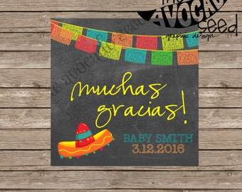 Mexican Spanish Fiesta Favor Thank You Tag - DIY Printing OR Professional Prints