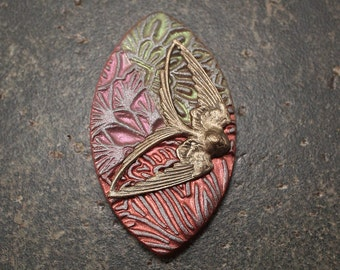Bold Colorful Bird Pendant Green Coral Pink Copper Swallow Pendant