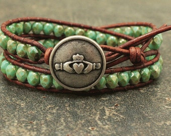 Claddagh Jewelry Silver and Turquoise Claddagh Bracelet Beaded Leather Friendship Jewelry