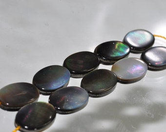 10 Pieces 8x12x2mm Highly iridescent~Tahitian Rainbow Black Lip MOTHER Of PEARL Double-Sided Oval Beads - E0981