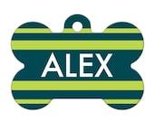 Personalized Pet ID Tag - Alex Custom Name Striped Dog Bone Pet Tag, Dog Tag