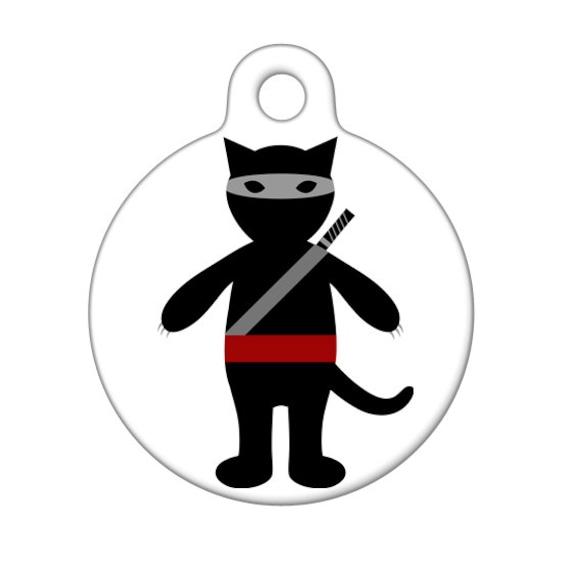 Pet ID Tag - Ninja Cat Pet Tag, Cat Tag, Luggage Tag, Child ID Tag