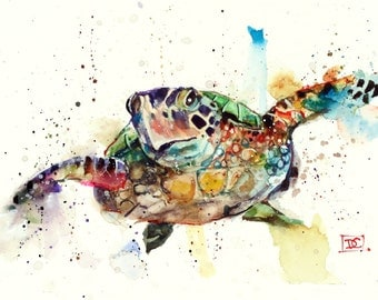 SEA TURTLE Watercolor Art Print by Dean Crouser