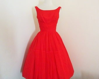 Rogue Ballerina... vintage 1950's Jo Jr Dallas true red chiffon party dress