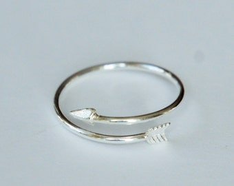 Arrow Ring, Sterling Silver, Wrap Ring, Valentine's Day Gift, Birthday Gift, Kids Gift