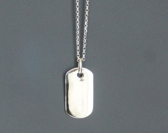 Blank Tag Necklace, Sterling Silver, 13x28mm, Military Tag Charm, Ready to Engrave, Birthday Gift