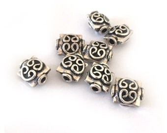 Sterling Silver Square 8mm Beads with Fancy Decoration