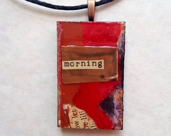 Red Abstract Mixed Media Textured Art Pendant with Copper