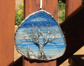 """Wire Tree of Life sculpture, Blue Skies Forever, Brazil Agate slice, metal wall art, Suncatcher, nature inspired, unique home decor gift, 4"""""""