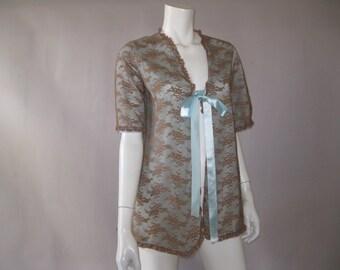 Vintage Bed Jacket - 50s Van Raalte Bed Top - 1950s Lace Nylon - M