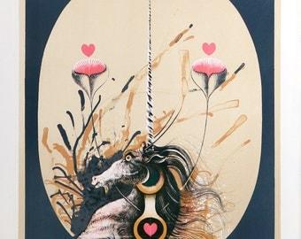 La Licorne by Pierre Jacquot, Lithograph, c. 1980