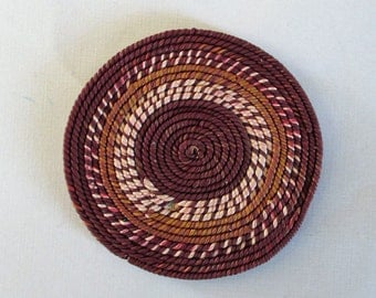 MINIATURE BRAIDED RUG made from Polymer Clay, could be for Doll House,  burgundy, beige, brown