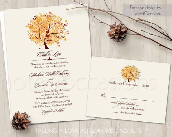 Rustic fall wedding invitation set printable autumn oak tree for Free printable tree wedding invitations