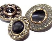 Antique Buttons Assortment 3 Waistcoat Glass & Celluloid in Metal