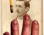 Original Collage on Antique Cabinet Card - The Artist-- iwearpartyhats Weird Surreal Pop Surrealism Victorian Art Men Cabinet Card