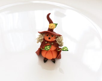 Miniature Halloween pumpkin witch for 1:48 scale doll house handmade from polymer clay