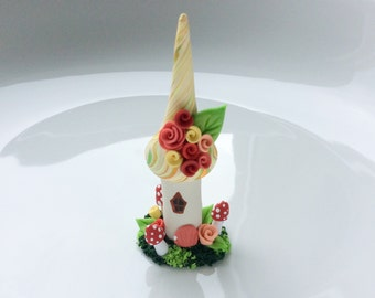 Miniature Fall fairy house cup cake decoration in peach and pink handmade from polymer clay