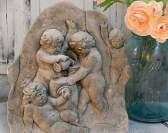 Vintage Cherub~Naked~ Wall Sculpture~ROMAN /GREEK ~Wall Hanging~Bathroom Decor~Courtyard Decor