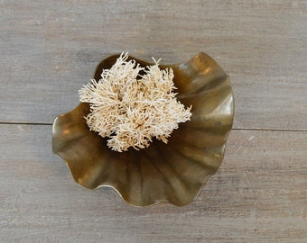 Vintage Brass Footed Seashell Dish