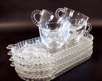 Hazel Atlas Anchor Hocking Boopie Candlewick Sip Snack and Smoke Pressed Ball and Ribbed Glass Snack Sets, Rare Oval design