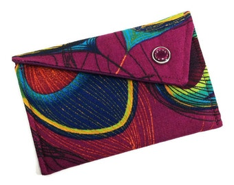Business Card Holder - Purple Berry Blue Peacock - Card Case - Gift Card Holder