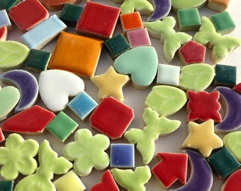 Mosaic Ceramic Tiles - Assorted Mix of Hearts Moons Stars Butterflies Flowers and Squares - 1 pound