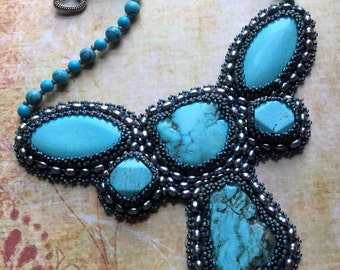Bead Embroidery Turquoise Pearl Necklace, Boho Chic, Cowgirl Chic, Southwest Style Jewelry
