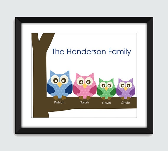 Owl Family Personalized with Your Names Wall Art - 8x10 Custom Wall Print Poster