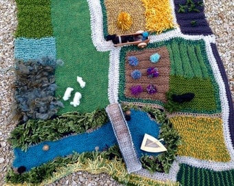 Knitted Farmyard Playscape with Felted Animals, Pony cart, Bridge and Fishing Boat