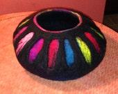 "Beautiful Large Fiber Art Wet Felted Bowl or Vessel 11"" x 5 1/2"", Great Colors, Original OOAK"