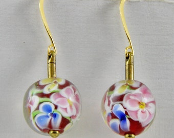 Hand Made 12mm Lamp Work Flowered Red Blue Pink Glass Beads Gold Hook Dangle Earrings Oscarcrow
