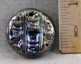 Handmade Raku  Hieroglyph Pendant Bead