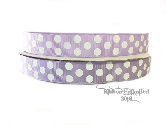 10 Yds WHOLESALE 7/8 Inch Lavendar-White Jumbo Polka Dot grosgrain ribbon. LOW SHIPPING Cost.