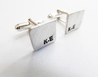 Rustic initial cufflinks hand stamped cufflinks Rustic groomsmen gift Rustic cuff links