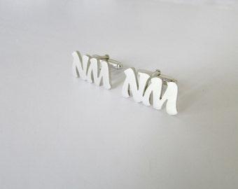 Custom initial cufflinks in sterling silver cufflink groomsmen gift  wedding jewelry