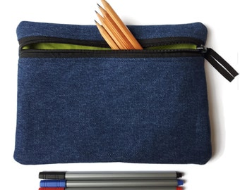 Pencil case / zipper pouch /cosmetic bag  Blue denim and lime