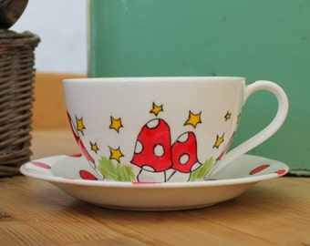 Mushroom Teacup Cappuccino Cup and Saucer Giant Teacup Stars Red and white spots fairy tea party