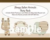 "SAVE 50 Percent!! 4 Printable ""Sleepy Safari Animals"" Bundle Pack 4 PDF Instant Digital Downloads included in One Price!"