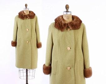 Vintage 60s Green Coat / 1960s Textured Celery Green Wool Coat with Genuine Mink Fur Collar S - M