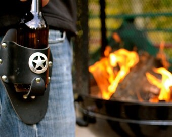 Leather Beer Holster with Sheriff Star Concho