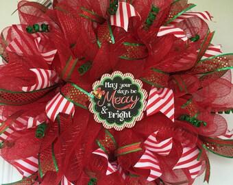 Front door wreath, outdoor door decoration, Christmas wreath, mesh Christmas wreath, outdoor door wreath, outdoor Christmas wreath