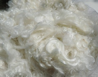 Super White Platinum  Kid  Mohair Locks  3 To 5 Inches Super White Super Shiny Mill Washed Partially Seperated Small Amount Of VM