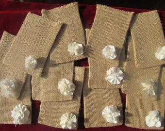 Natural Burlap Favor Bags with Ivory Flower Details