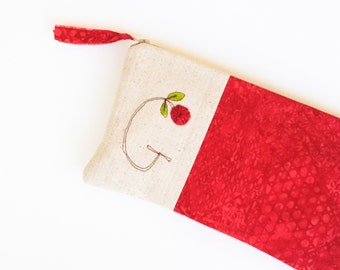 Red Monogram Clutch, Personalized Gift for Women,  Monogram Bag, Zipper Pouch Letter G, Gift under 50 READY TO SHIP by MamaBleuDesigns