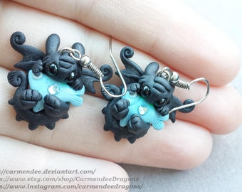 Toothless Tasty Fish EARRINGS Hand made polymer clay