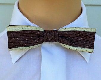 1950s Bow Tie By Ormond In Cream And Brown